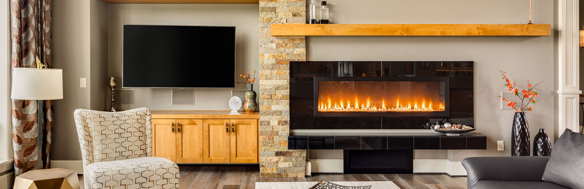 roaring fireplace